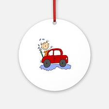 Stick Girl Washing Car Ornament (Round)