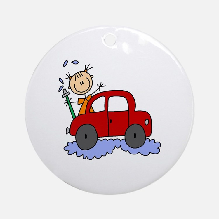 Stick Girl Washing Car Ornament (Round)