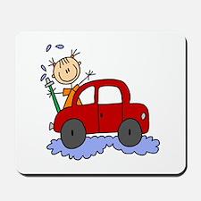 Stick Girl Washing Car Mousepad