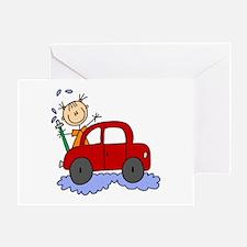 Stick Girl Washing Car Greeting Card