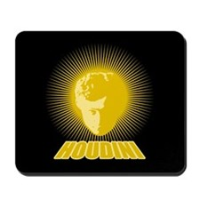 Houdini Face Mouse Pad, Gold on Black