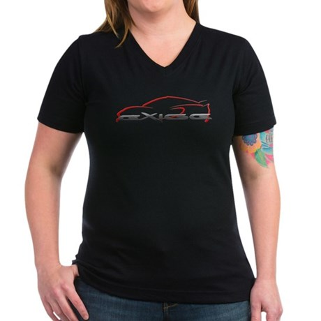 Exige Outline Red Women's V-Neck Dark T-Shirt