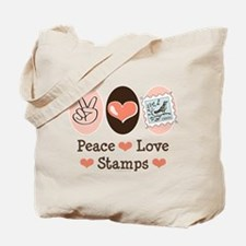 Peace Love Stamps Tote Bag