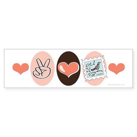 Peace Love Stamps Bumper Sticker