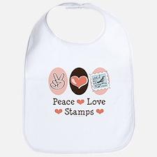 Peace Love Stamps Bib