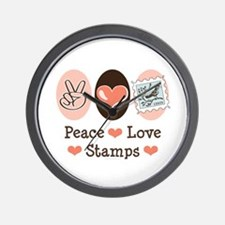 Peace Love Stamps Wall Clock