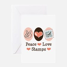 Peace Love Stamps Greeting Card