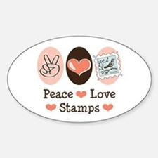 Peace Love Stamps Oval Bumper Stickers