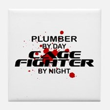 Plumber Cage Fighter by Night Tile Coaster