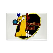 Yellow number 1 bowling dad Rectangle Magnet