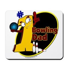 Yellow number 1 bowling dad Mousepad