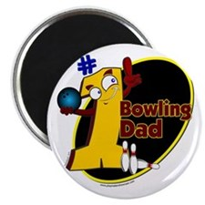 Yellow number 1 bowling dad Magnet