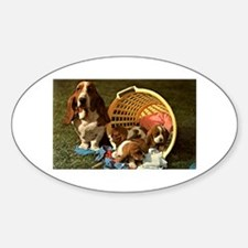 Basset Hound & Puppies Oval Decal