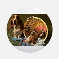 Basset Hound & Puppies Ornament (Round)