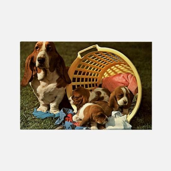 Basset Hound & Puppies Rectangle Magnet