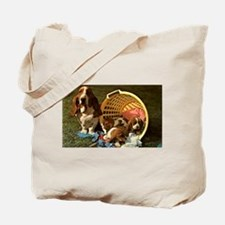 Basset Hound & Puppies Tote Bag