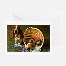 Basset Hound & Puppies Greeting Cards (Pk of 20)