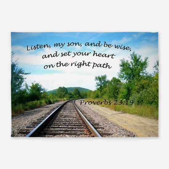 Proverbs 23:19 5'x7'Area Rug