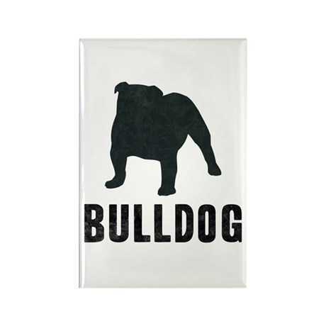 Retro Silhouette Bulldog Rectangle Magnet