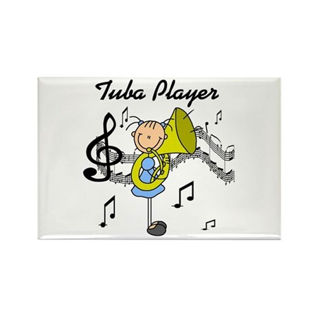 Tuba Player Rectangle Magnet (100 pack)