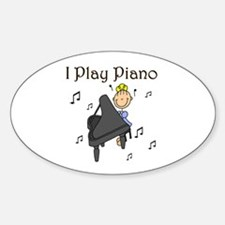 I Play Piano Oval Decal