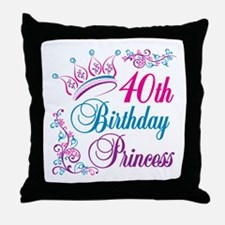 40th Birthday Princess Throw Pillow