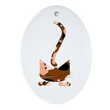 Calico Pounce Cat Keepsake (Oval)