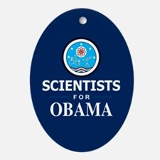Scientists for Obama Oval Ornament