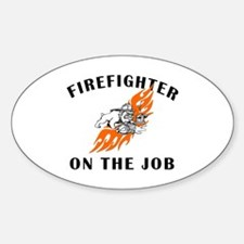 Firefighter On The Job Oval Decal