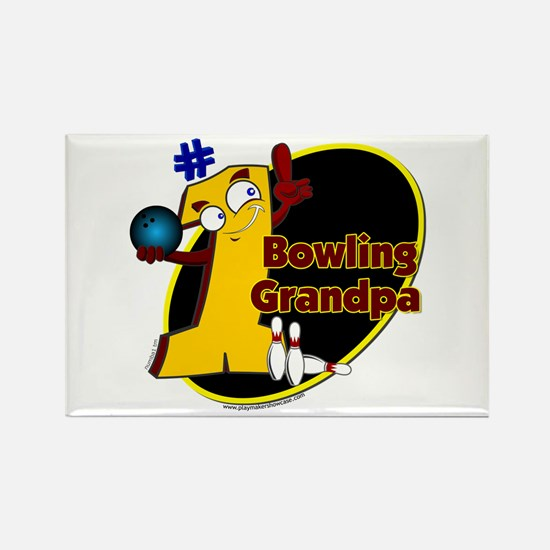 Yellow number 1 bowling grand Rectangle Magnet
