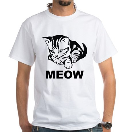 Meow Cat White T-Shirt