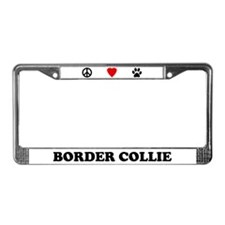 Peace Love Border Collie License Plate Frame
