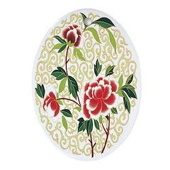 Delicate Blossoms Oval Ornament