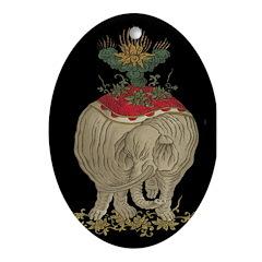 Decorative Asian Elephant Oval Ornament