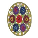 Chinese Flowers Oval Ornament