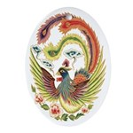 Chinese Luck Rooster Oval Ornament