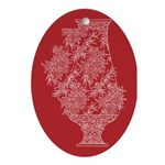Asian Vase (Red) Oval Ornament