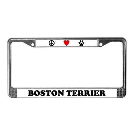 Peace Love Boston Terrier License Plate Frame By Cafepets