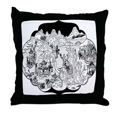 Asian Waterscape Throw Pillow