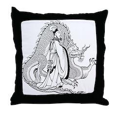 Shogun and Dragon Throw Pillow