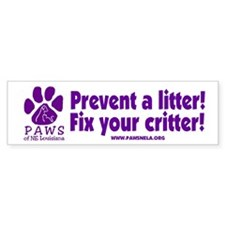 Prevent a Litter Bumper Bumper Sticker