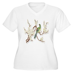 Bird and Blossoms Women's Plus Size V-Neck T-Shirt