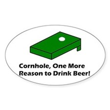 Cornhole and Beer Oval Decal