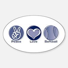 Peace Love Softball Oval Decal