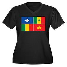 Creole Flag Women's Plus Size V-Neck Dark T-Shirt