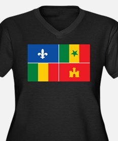 Creole Flag Women's Plus Size V-Neck Dark T-Shirt