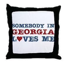 Somebody in Georgia Loves Me Throw Pillow