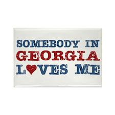 Somebody in Georgia Loves Me Rectangle Magnet (100
