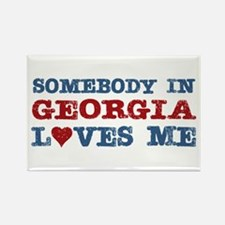 Somebody in Georgia Loves Me Rectangle Magnet (100