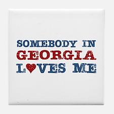 Somebody in Georgia Loves Me Tile Coaster